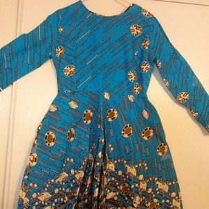 Short long sleeve Ankara Dress